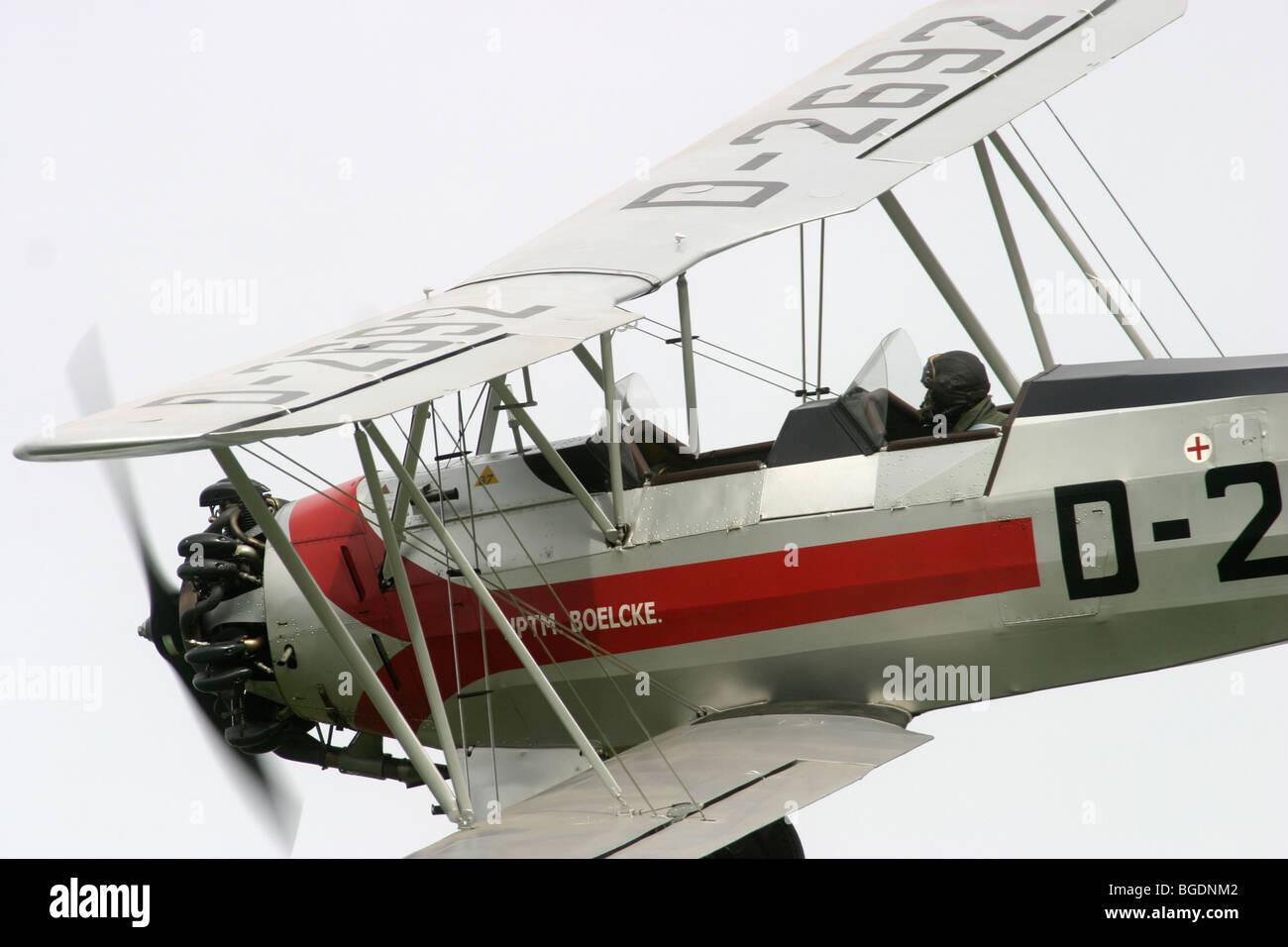 Focke-Wulf Fw.44J Stieglitz, G-STIG / D-2692. Goldfinch. Two seat trainer  biplane. Siemens-Halske Sh 14 radial engine 160hp. 115 mph