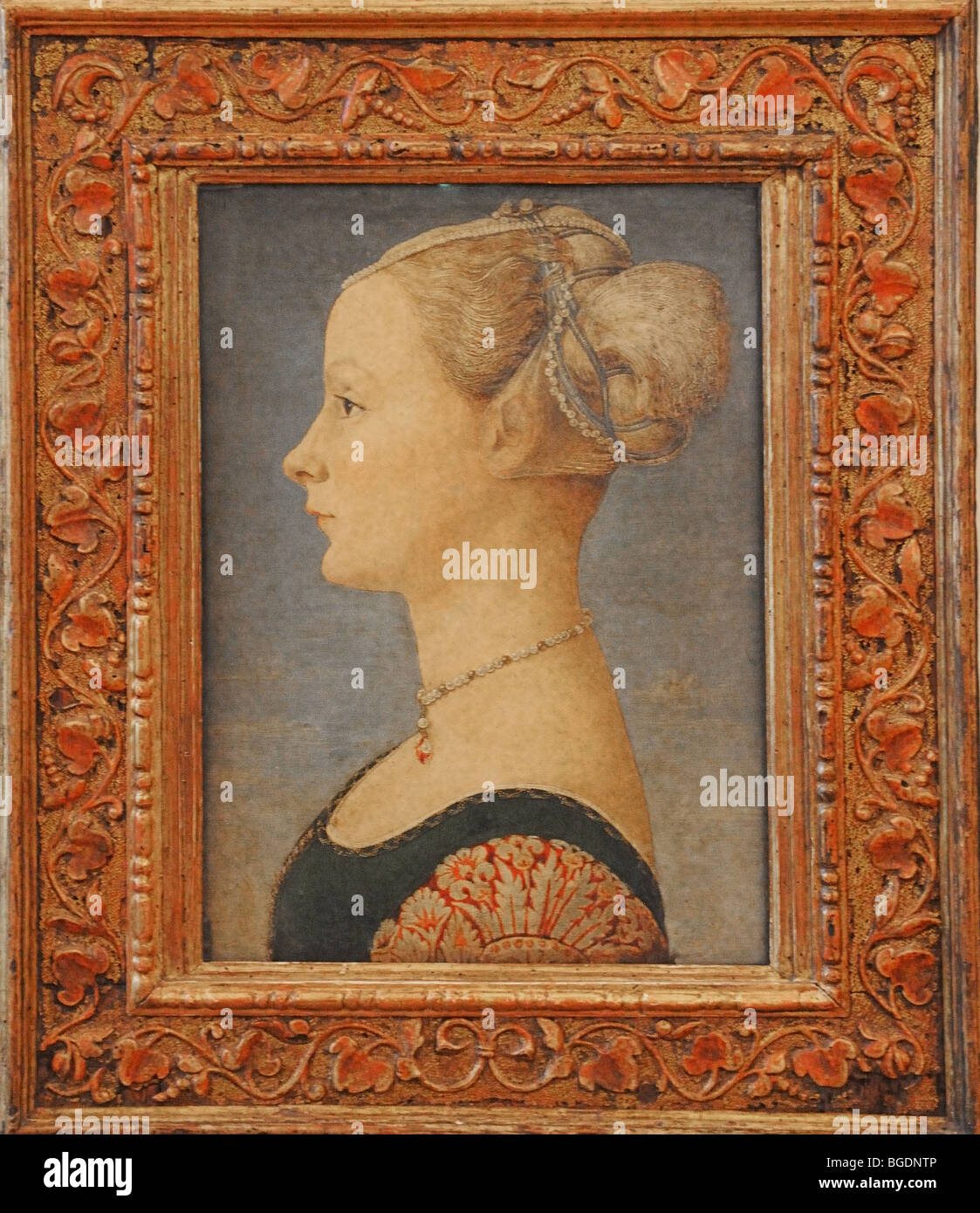 Framed painting by artist Piero del Pollaiuolo known as Portrait of a Lady - Stock Image