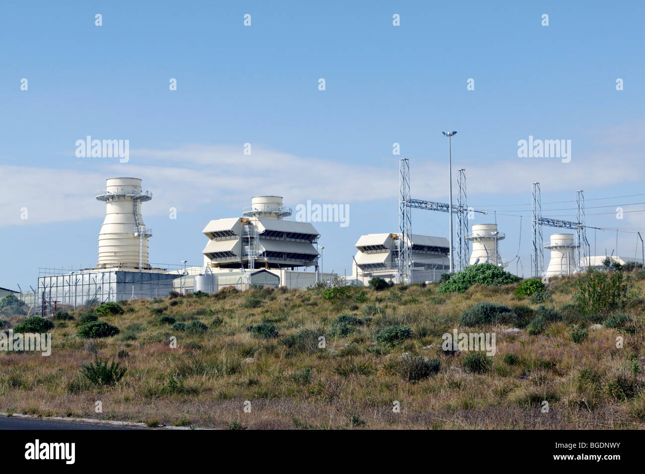 Open-cycle gas-turbine generators at Atlantis, near Cape Town, Western Cape Province, South Africa. - Stock Image