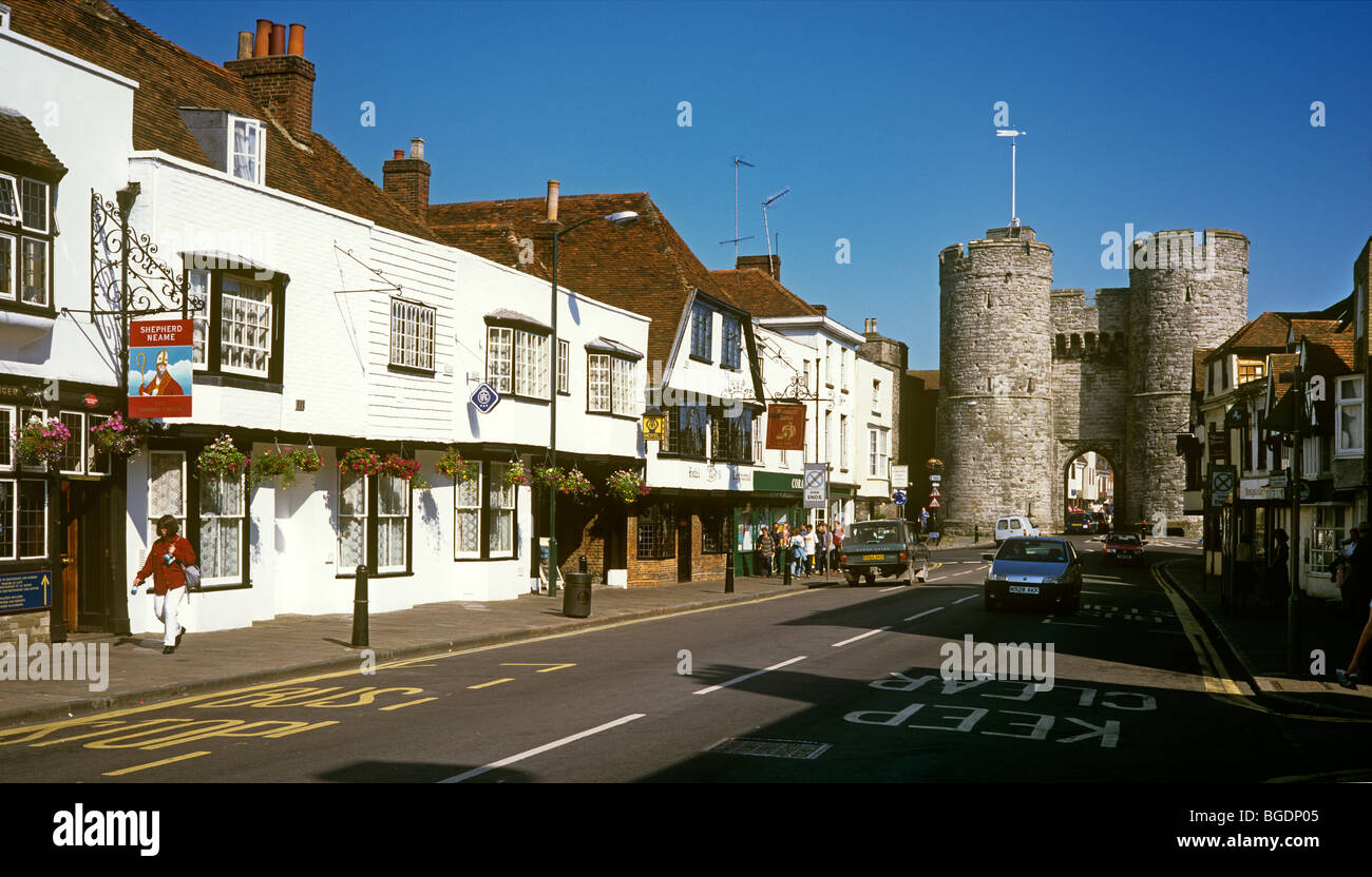 UK, England, Kent, Canterbury, St Dunstan's Street, Westgate, built by Archbishop Sudbury in1380 - Stock Image