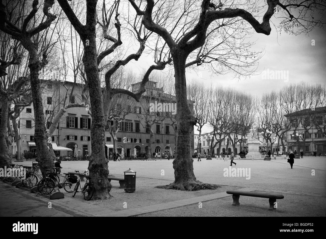 Early spring time at Piazza Napoleone (Piazza Grande) in Luccca, Tuscany, Italy. Stock Photo
