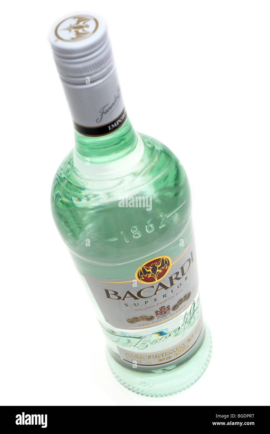 One litre bottle of 'Bacardi rum' - Stock Image