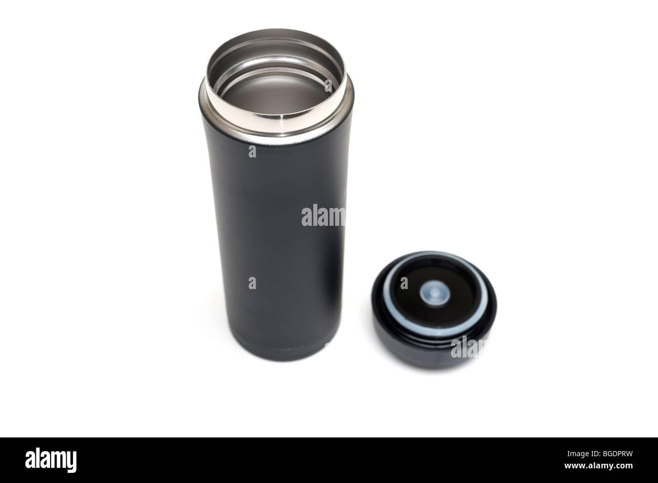 Small half litre black metal vacuum flask - Stock Image