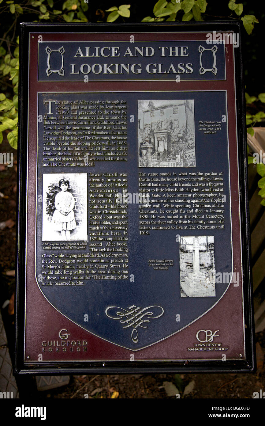 Description sign of Alice and the Looking Glass and author Lewis Carroll in Castle Grounds, Guildford, Surrey, England - Stock Image