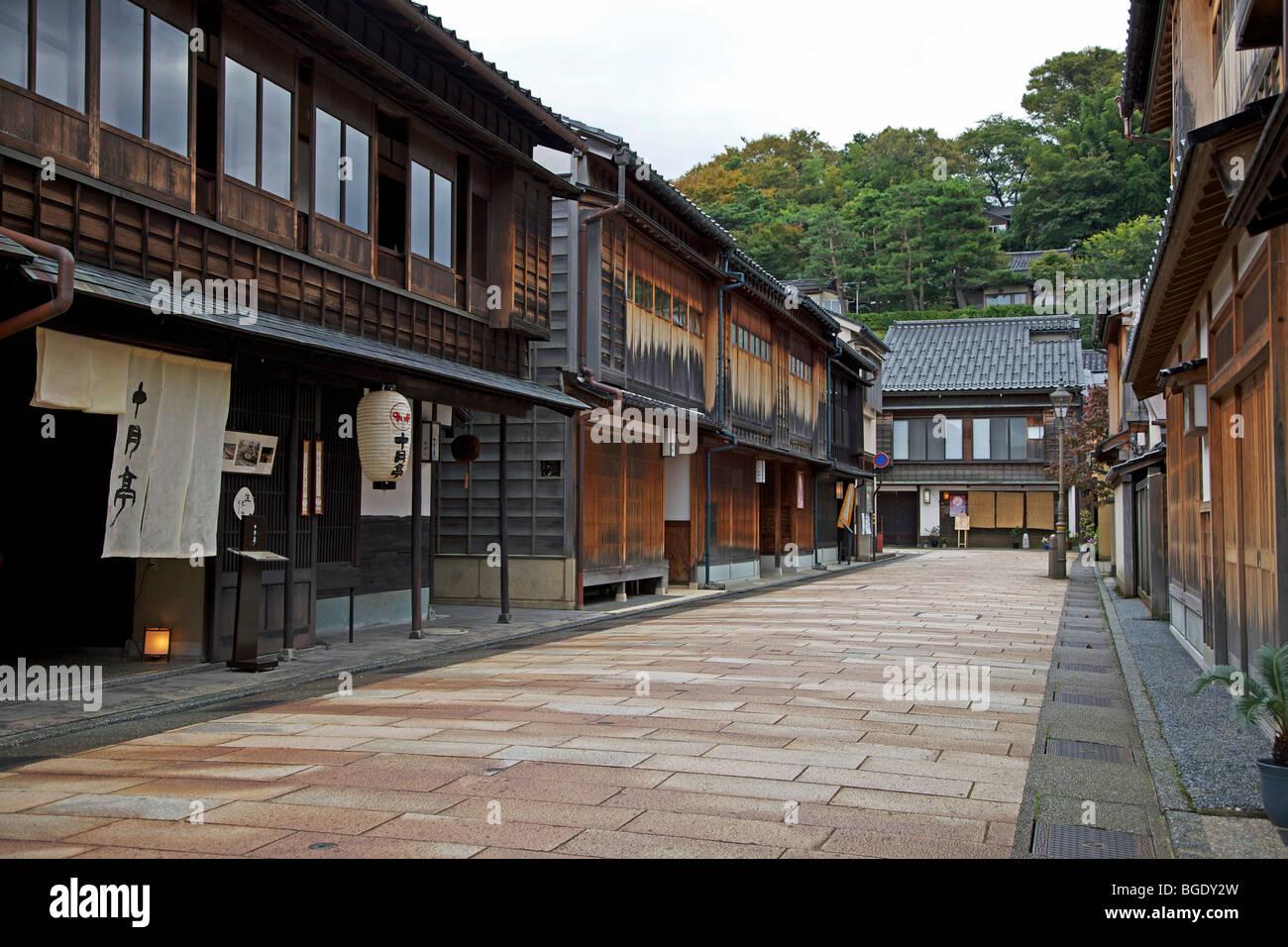 Higashi Chayagai teahouse district, Kanazawa, Japan - Stock Image