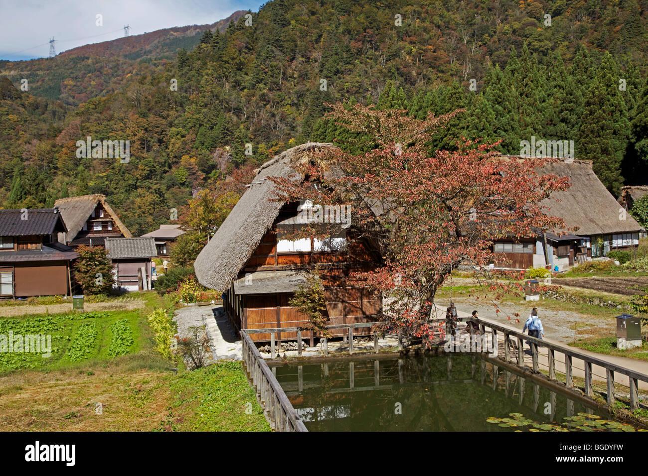 Thatched farmhouses of Suganuma Village, Toyama Prefecture, Japan - Stock Image