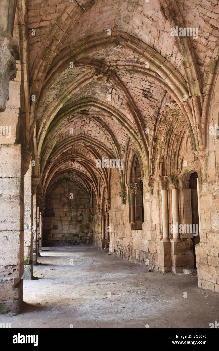 Syria, crusader's castle of Krak Des Chevaliers (Qala'at al Hosn), a UNESCO Site, Gothic Portico - Stock Image