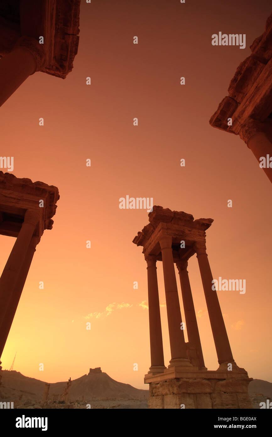 Syria, Palmyra Ruins (UNESCO Site), Tetrapylon - Stock Image