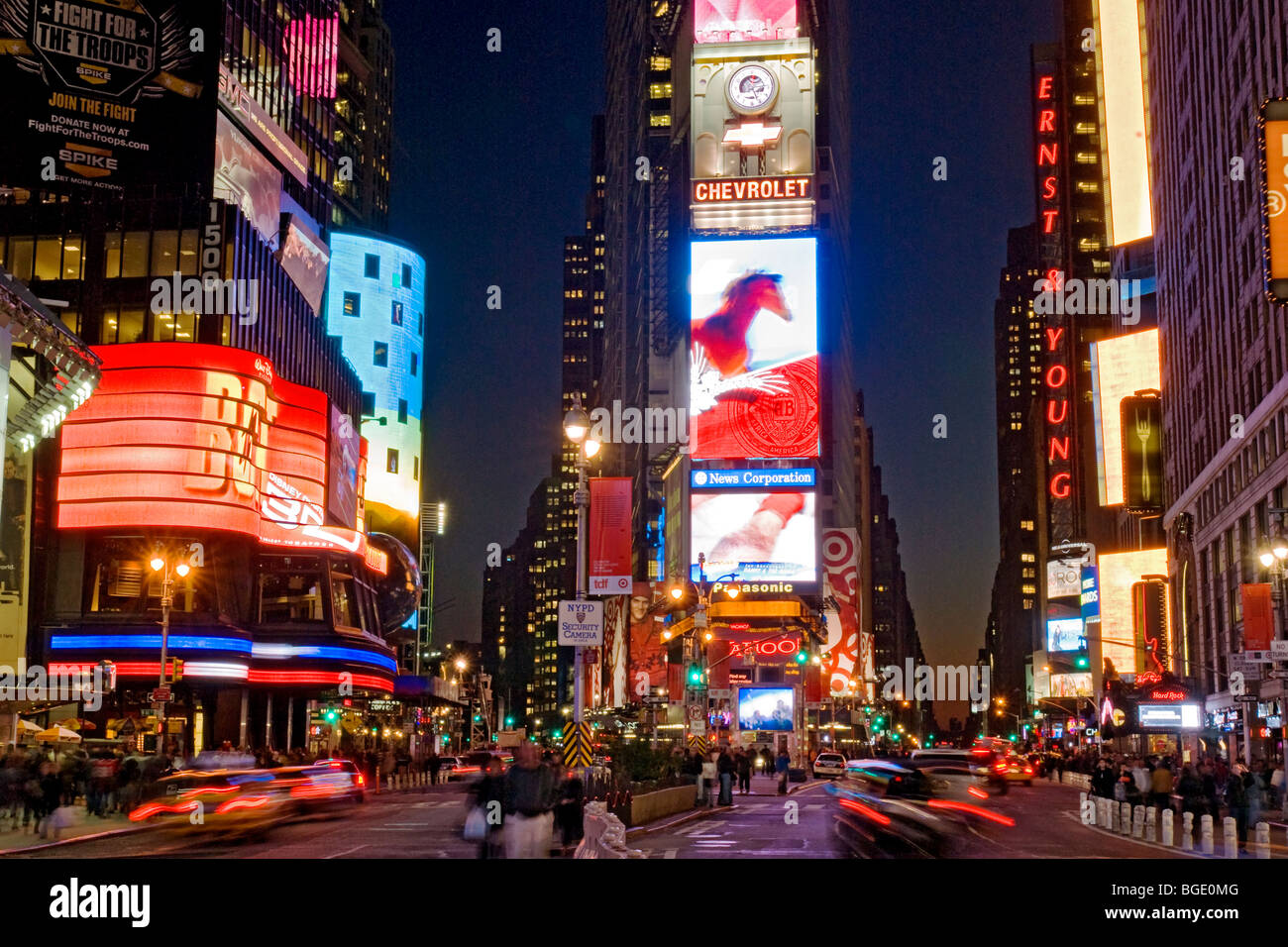 Times Square New York City at Night - Stock Image