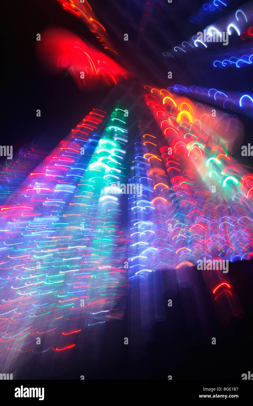 colorful string of lights labyrinth at a county fair in Germany, Europe Stock Photo