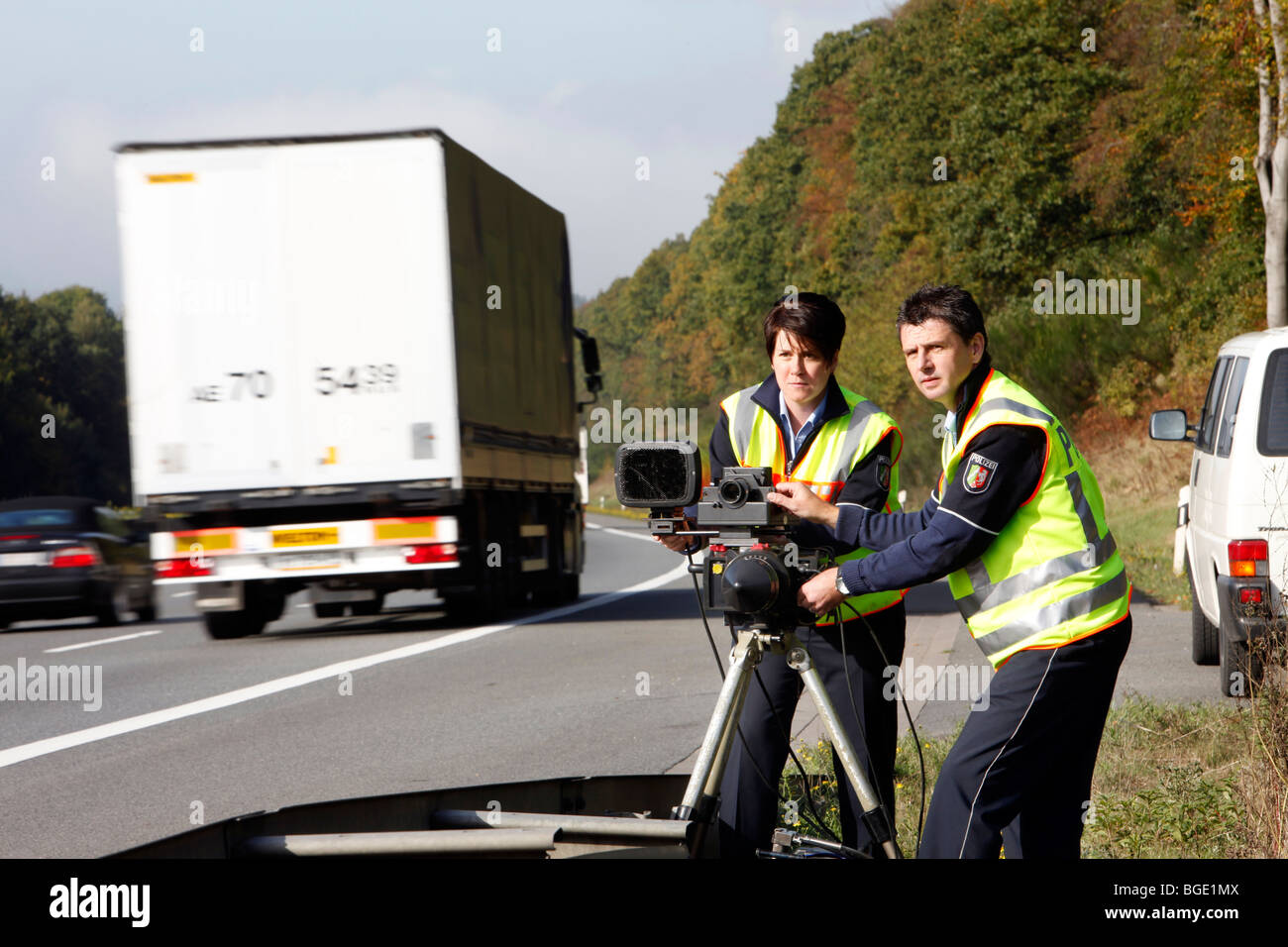Highway Police With A Radar Speed Limit Enforcement At A German Stock Photo 27353562 Alamy
