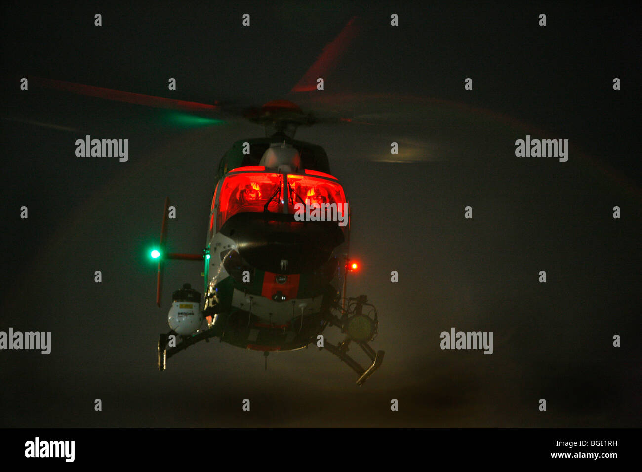police helicopter at night, with infrared camera