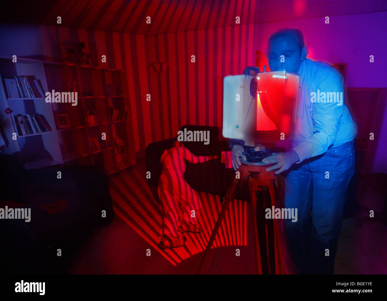 criminal investigation department, 3-D room scanner to reconstruct a crime scene. - Stock Image