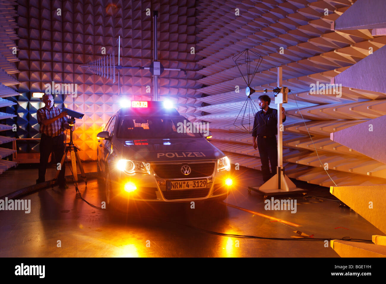 police car test in a EMV-laboratory for electromagnetic emission, Duisburg,NRW, Germany, Europe. - Stock Image