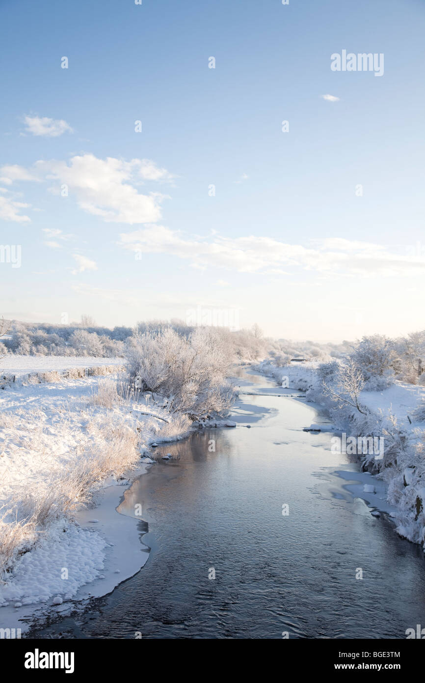 The River Garnock in North Ayrshire on a clear, cold winter day. - Stock Image