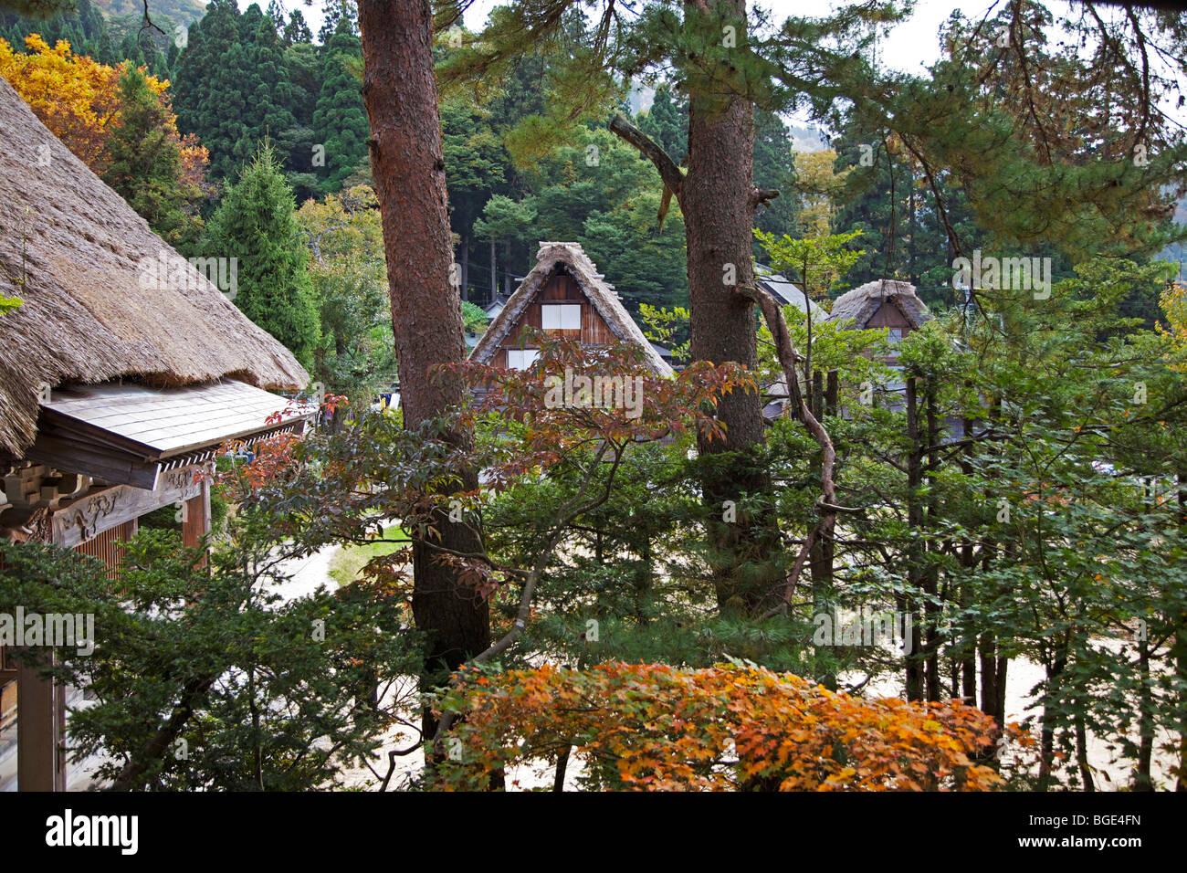 Traditional thatched farmhouses at Shirakawa Go village, Gifu Prefecture, Japan - Stock Image