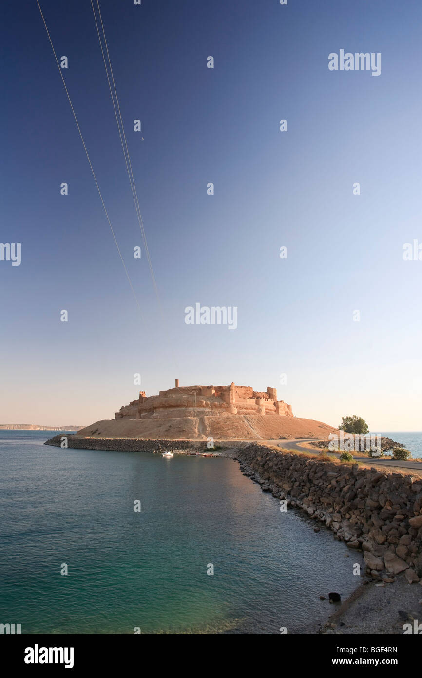 Syria, Euphrates river , Ath Thaura, Lake Al-Assad and Qalaat Jaabar Castle - Stock Image