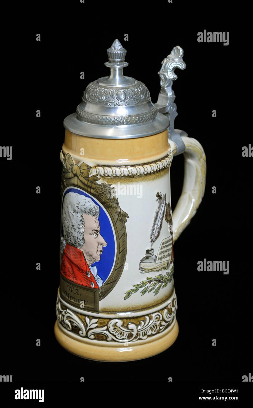 Procelain German Beer Stein - Stock Image