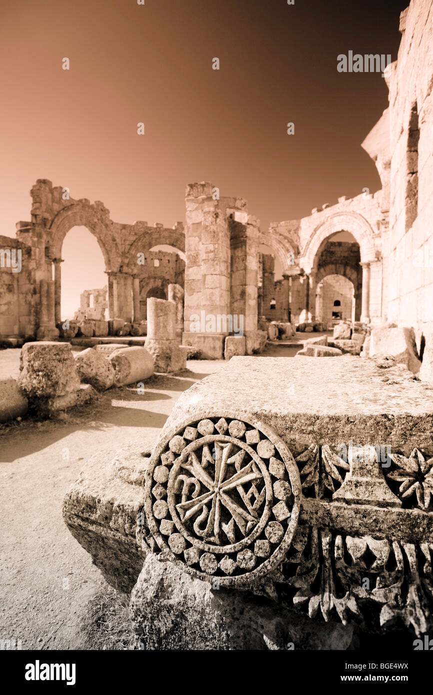 Syria, Aleppo, the Dead Cities, Ruins of the Basilica of Saint Simeon (Qala'at Samaan) - Stock Image