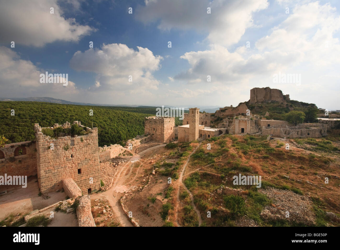 Syria, Northern Coast, Qalaat Salah ad Din (Saladin Crusader Castle), view from the ramparts - Stock Image