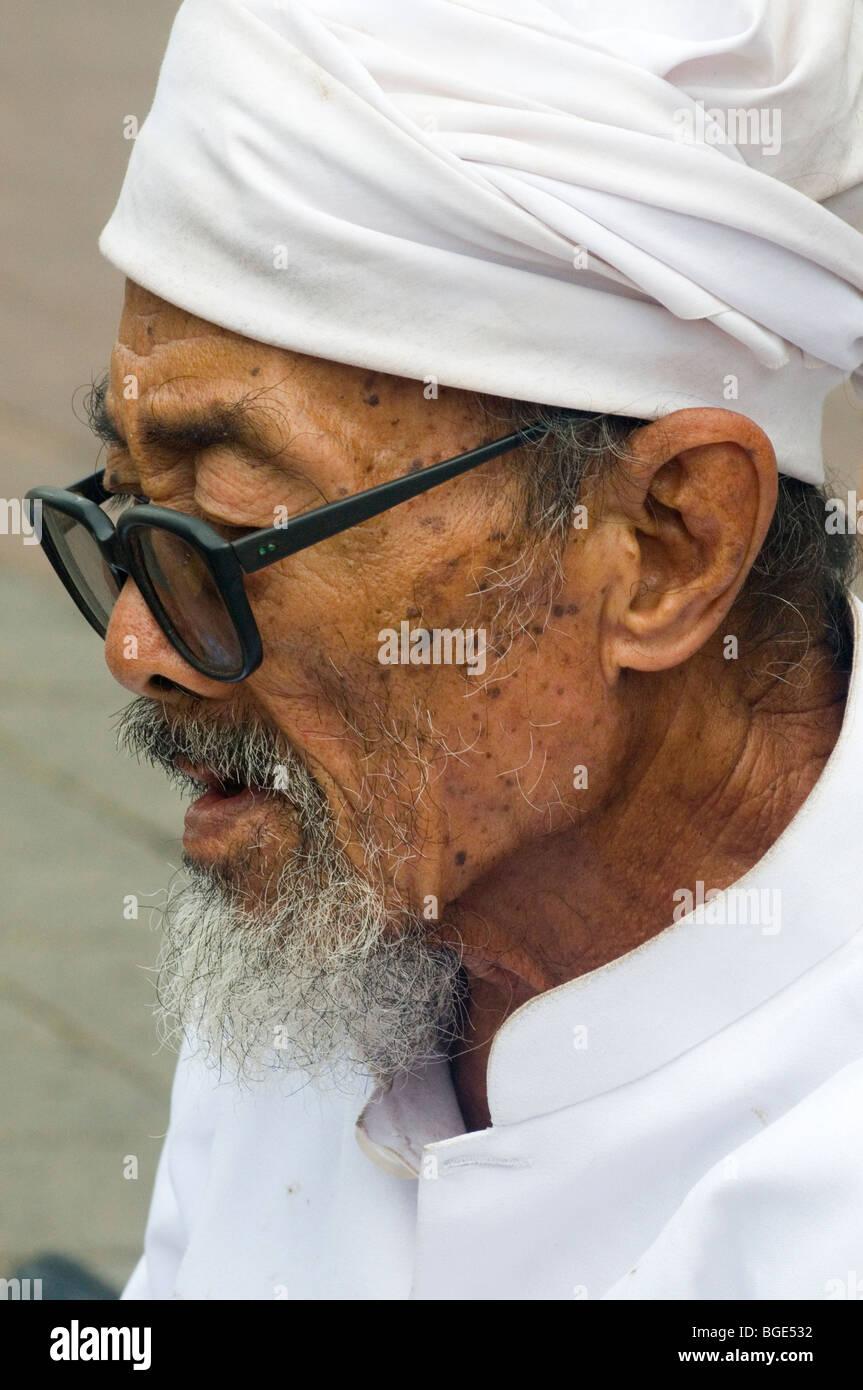 Hindu priest in Ubud, Bali, Indonesia Stock Photo