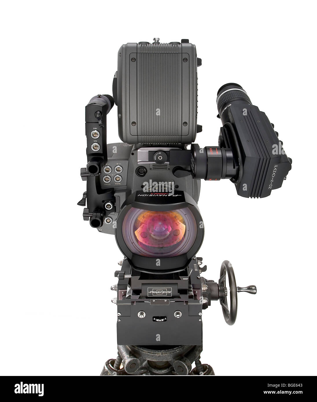 Studio Product Shot Of A Panavision Genesis Modern Digital Movie Camera Unusual Angle Nice Lens Refection