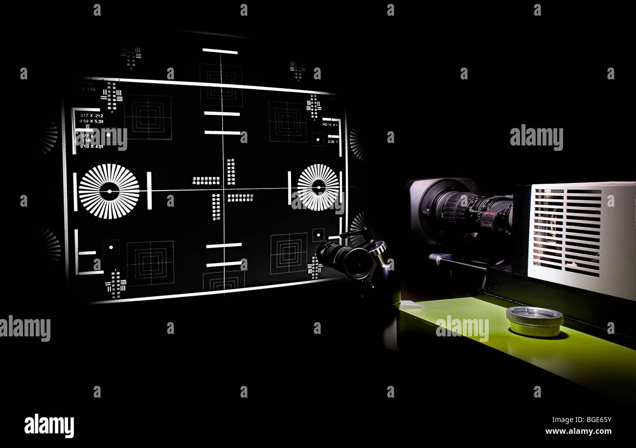 Testing a professional television lens on a precision lens projector - Stock Image