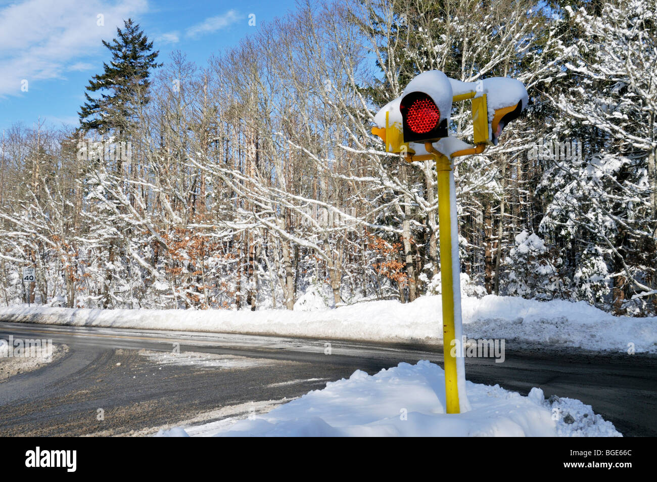 Red stoplight at intersection of a  snowy Cape Cod winter road on a sunny blue sky day. - Stock Image