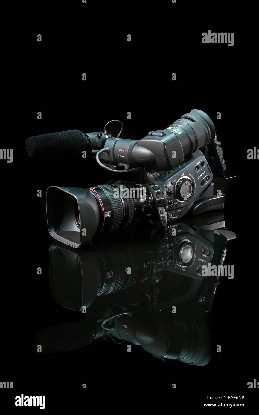 Studio Product Shot of a Prosumer Digital Movie Camera on a black background. Stock Photo
