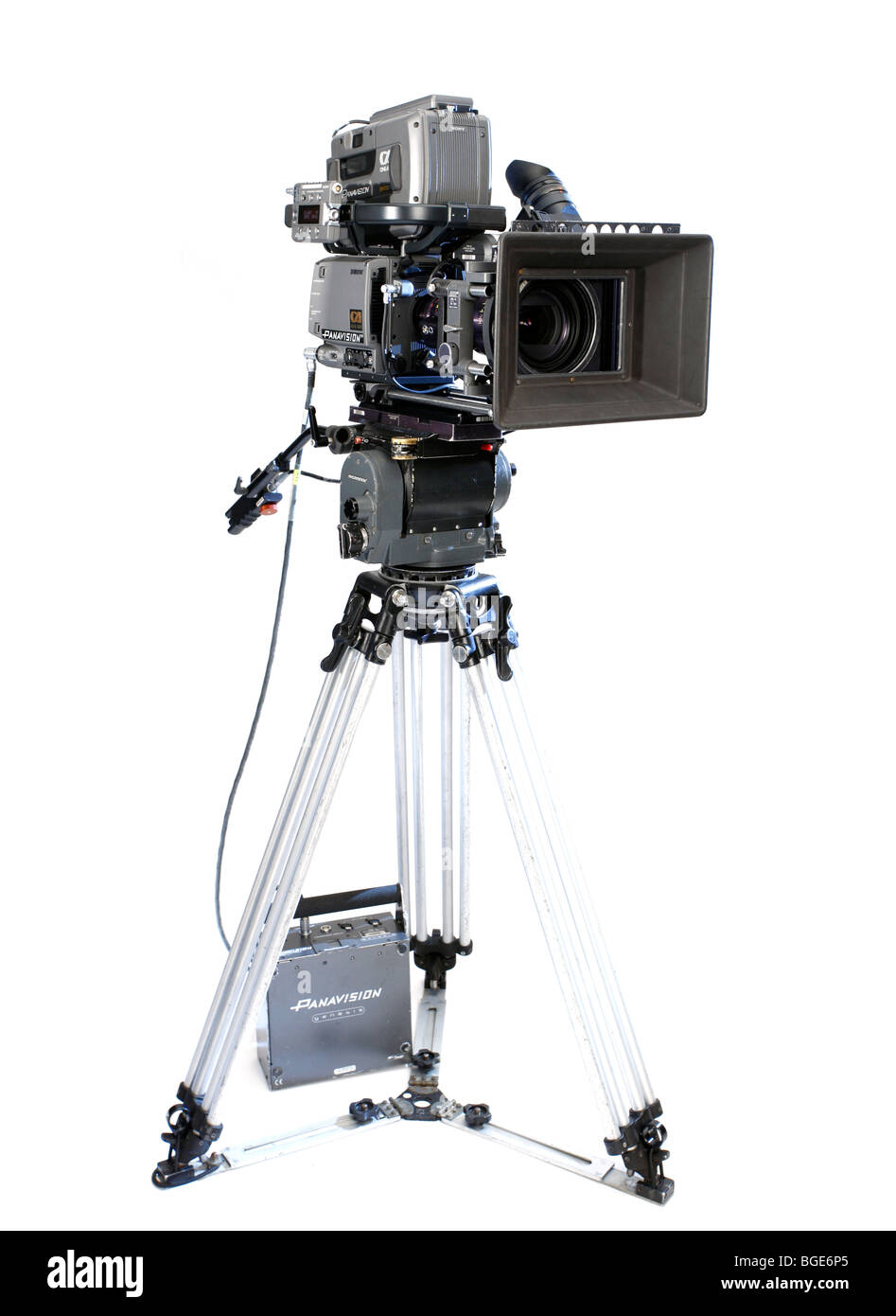 Studio Product Shot Of A Panavision Genesis Modern Digital Movie Camera On White Background Full Length With Head And Tripod