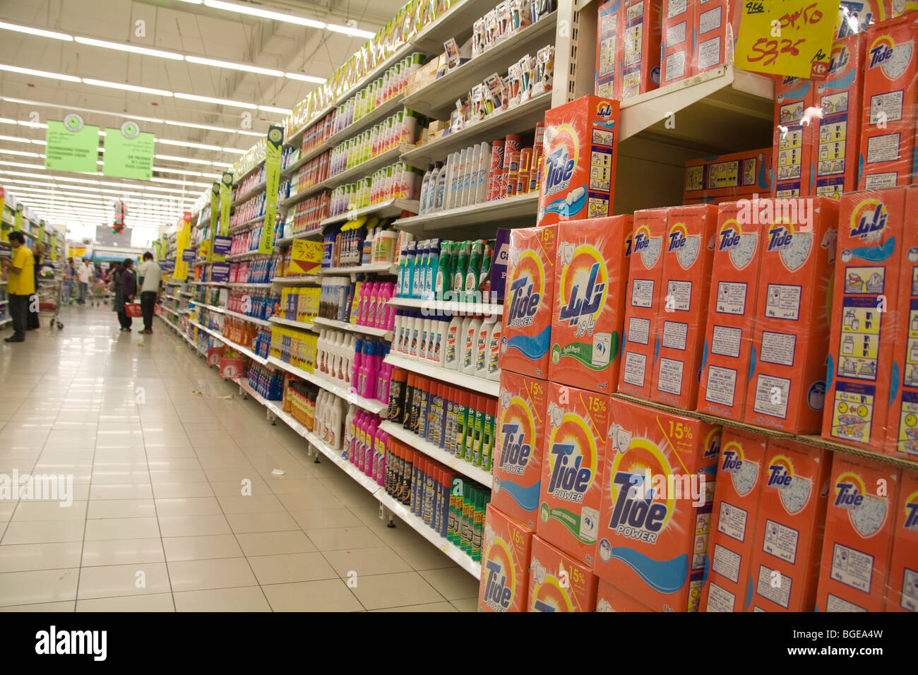 Dubai United Arab Emirates The household cleaning goods area of a supermarket in the Dubai Mall of the Emirates - Stock Image
