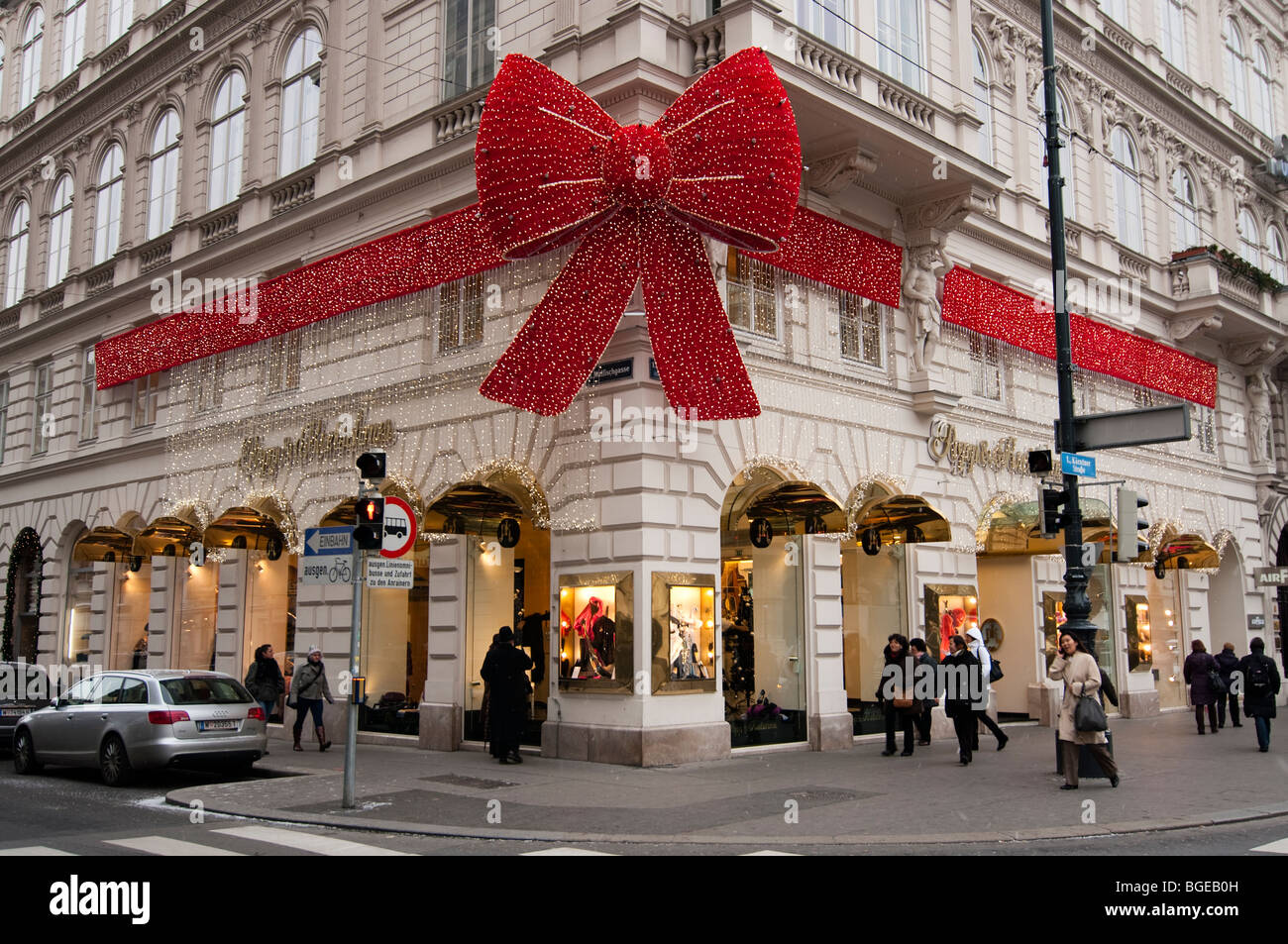 beautiful red bow christmas decoration on popp and kretschmer departmental store in vienna austria