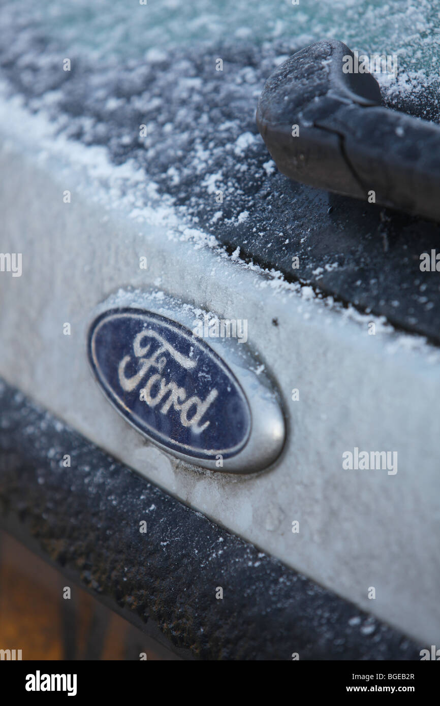 Ford,General Motors,Freeze,frozen,cold,out,car,ice - Stock Image