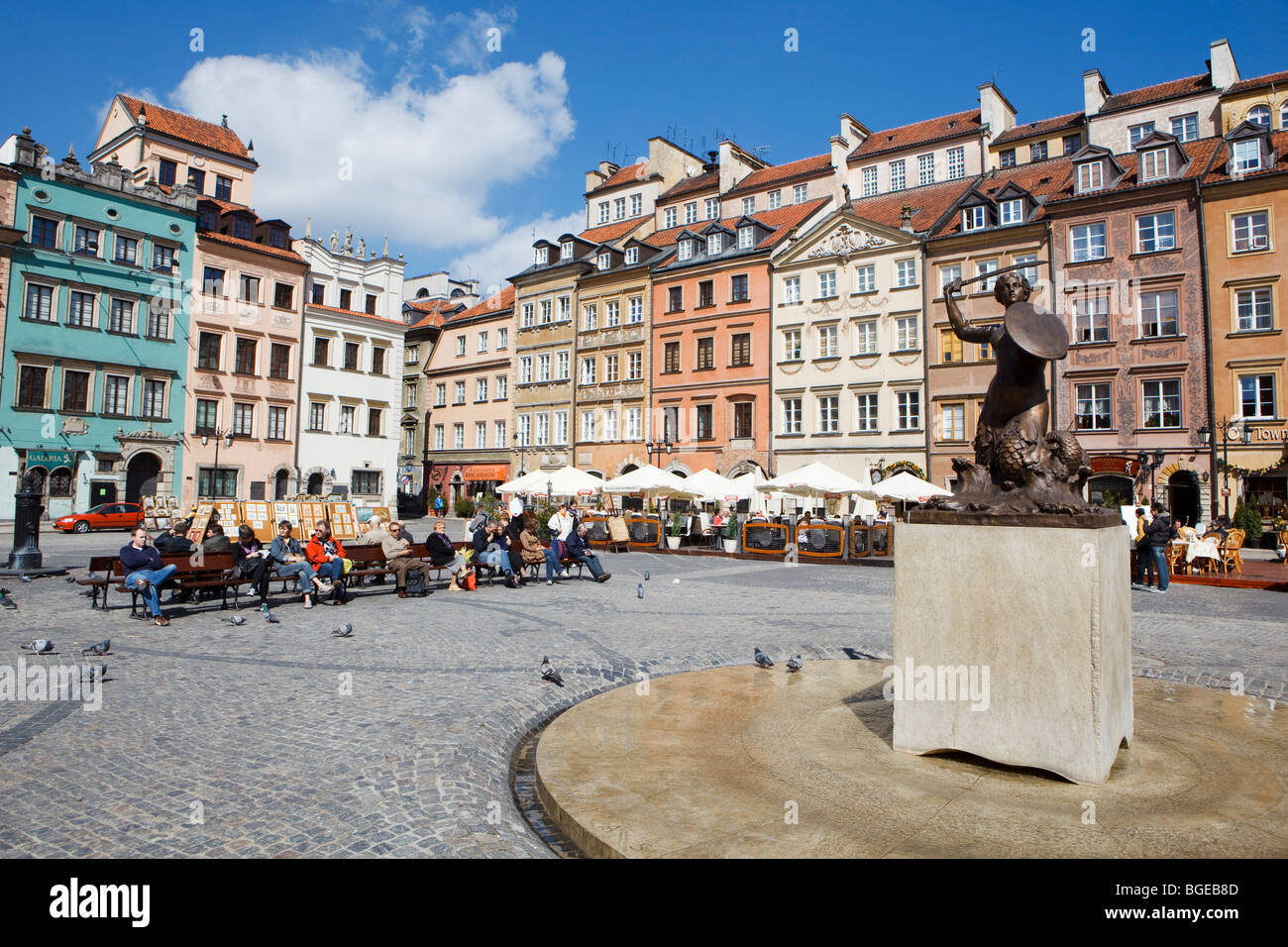 A statue on the square in Old Town, in Warsaw, Poland. - Stock Image