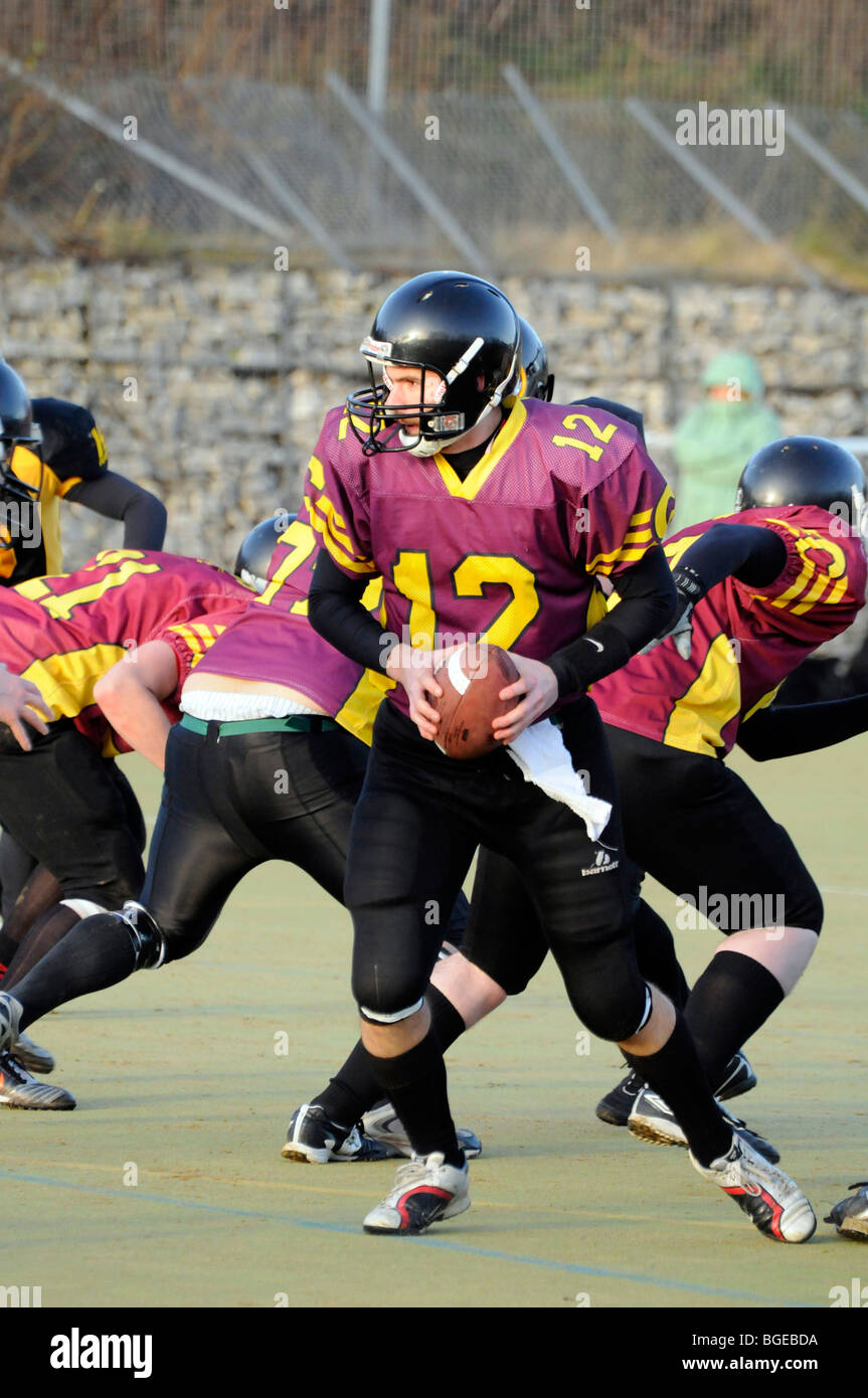 Quarterback of Nottingham Outlaws, Nottingham University American Football team. - Stock Image