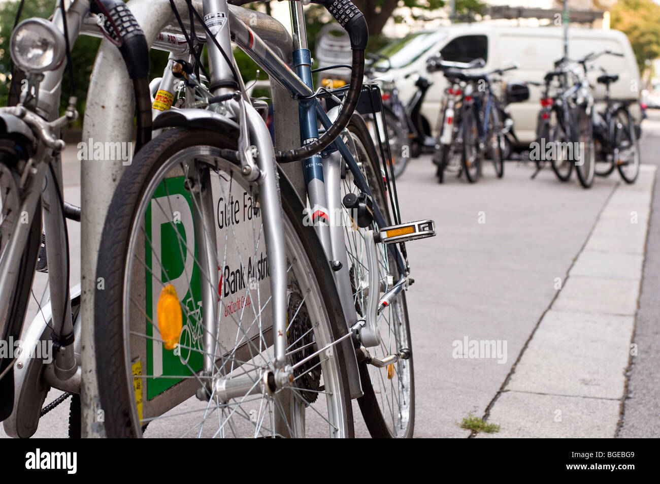 Bicycles in Vienna, Austria - Stock Image
