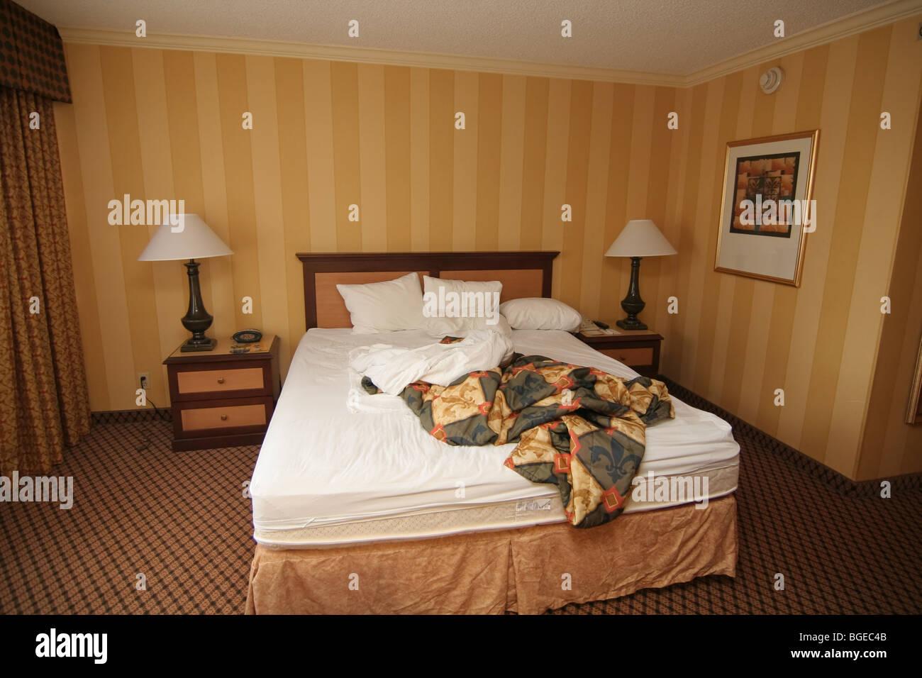 Messy Hotel Room Bed Holiday Inn LA