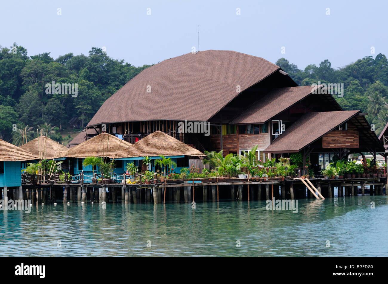 Thailand; Trat Province; Koh Chang; Buildings built on stilts at Bang Bao - Stock Image