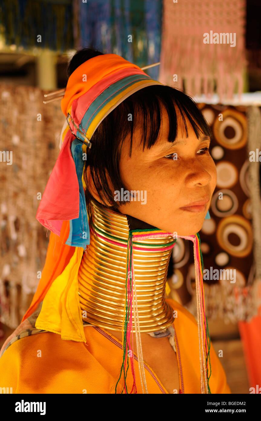 "Thailand; Mae Hong Son; Nai Soi;  Portrait of a ""Long Necked"" woman of the Karen Tribe Stock Photo"