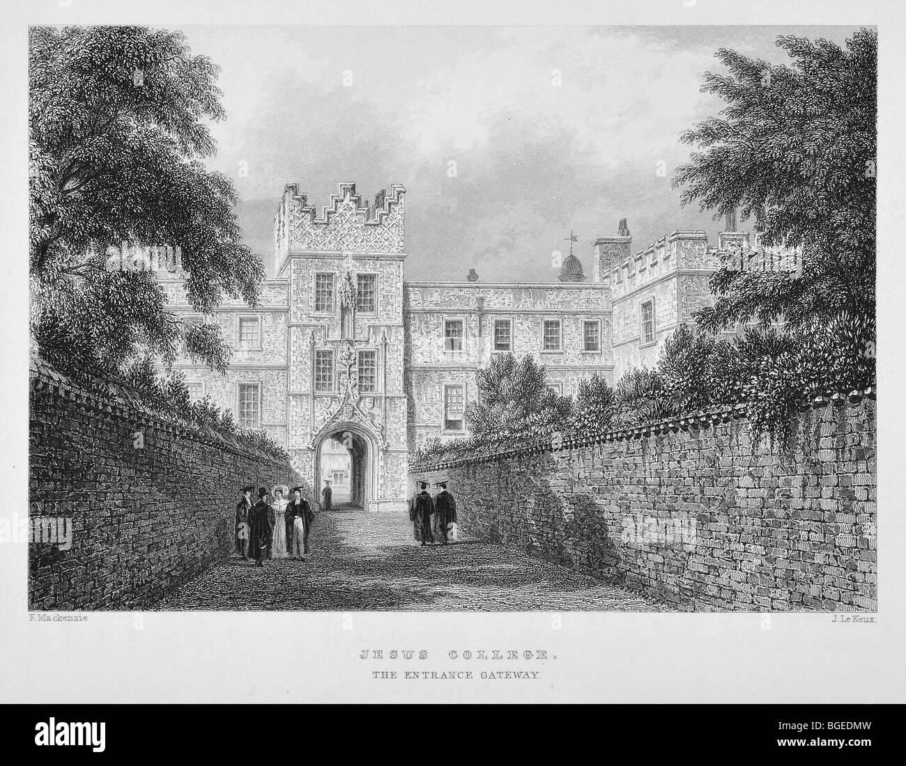 Jesus College, Cambridge, the entrance gateway - Stock Image