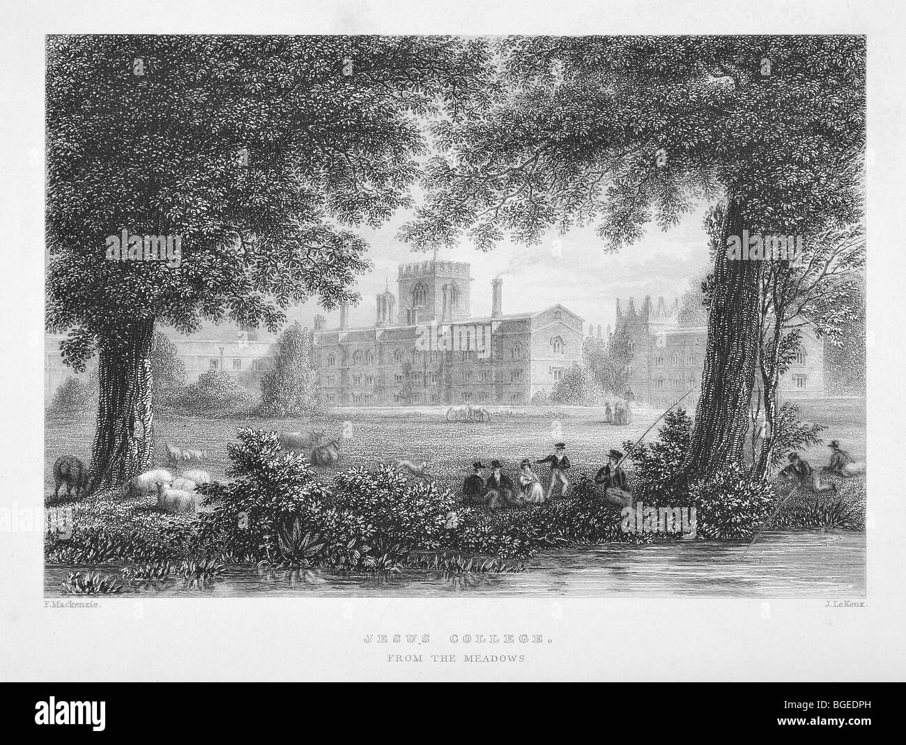 Jesus College, Cambridge, from the meadows - Stock Image