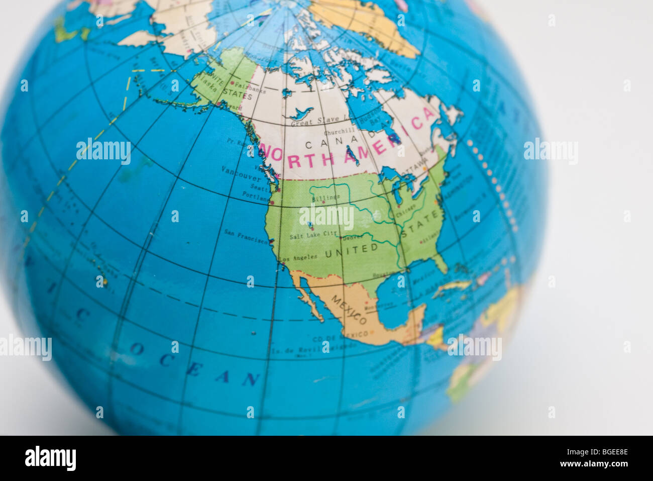 close up of a globe showing north America, Canada and the united states - Stock Image