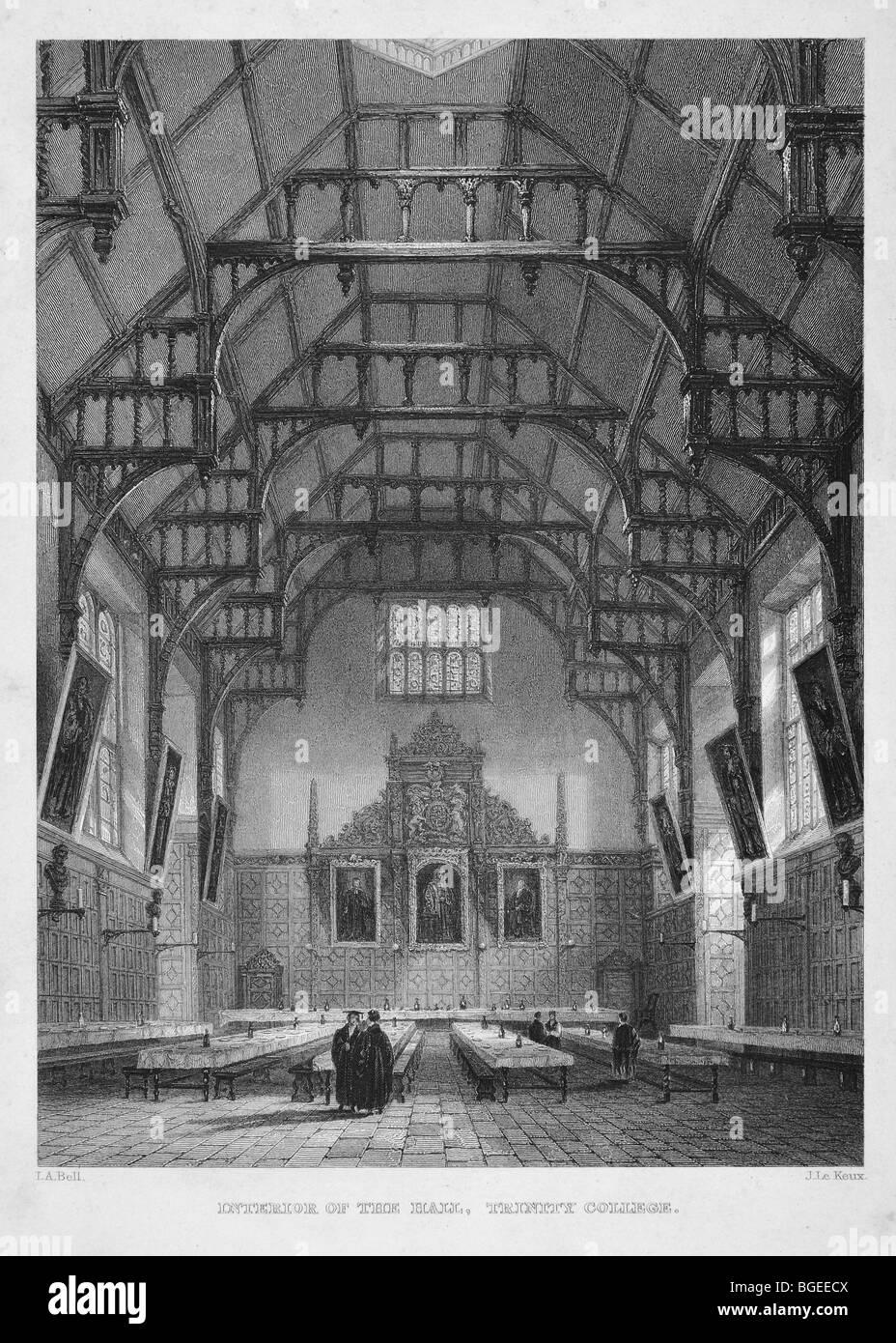 Trinity College, interior of the Hall - Stock Image