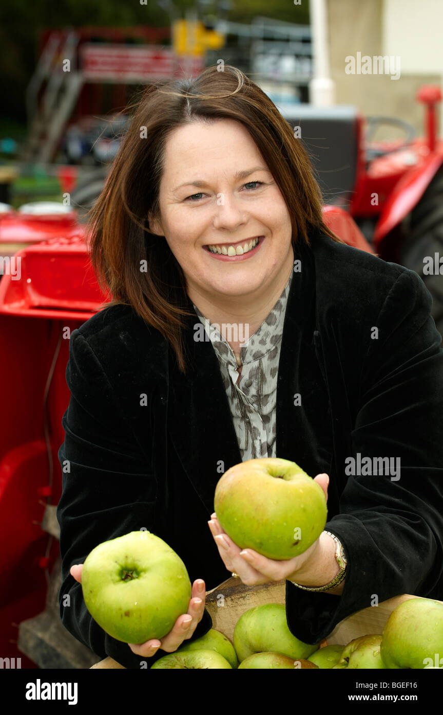 Northern Ireland minister for agriculture and Sinn Fein MP Michelle Gildernew at the Bramley apple festival in Loughgall - Stock Image