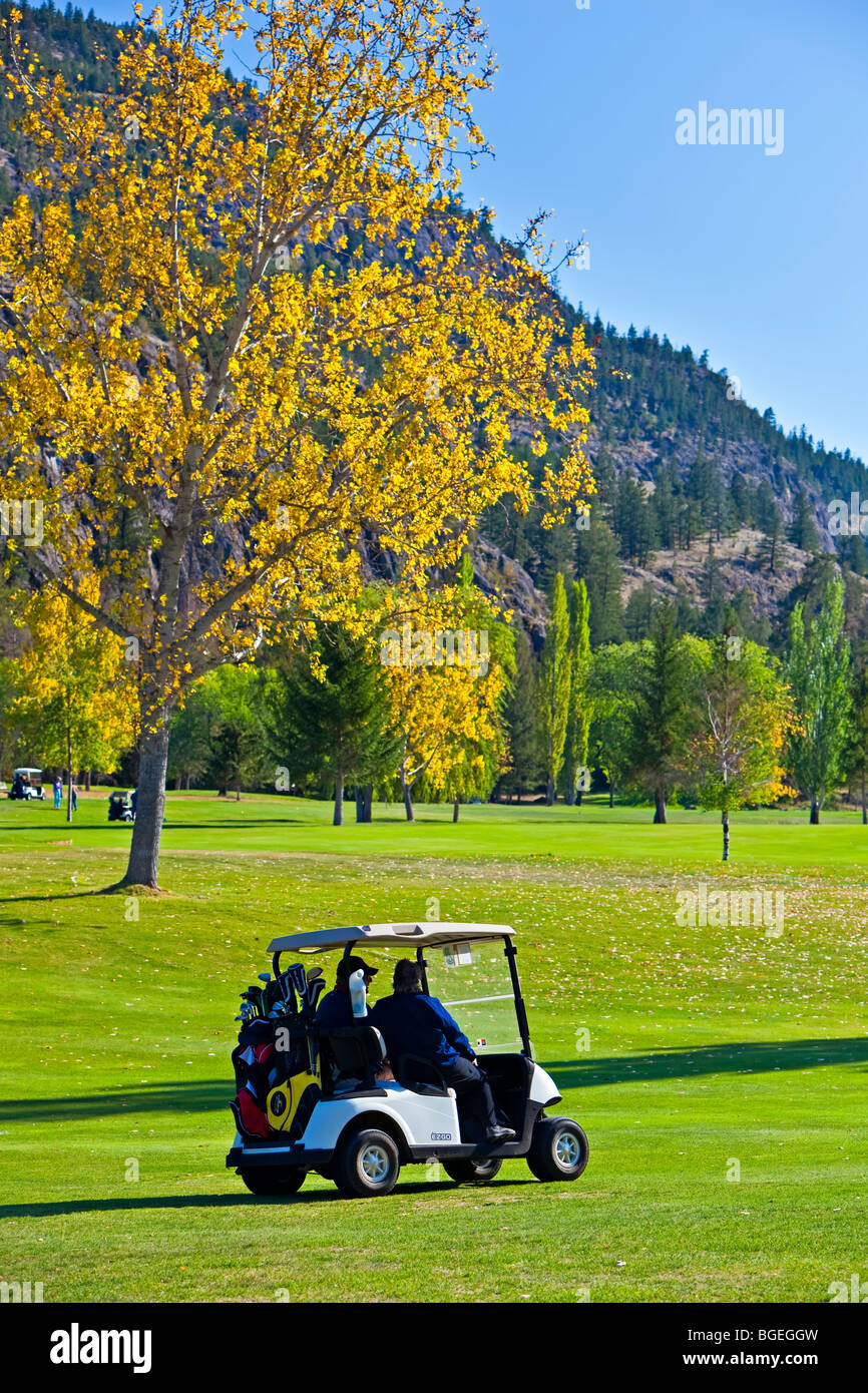 People with golf carts at the Twin Lakes Golf & RV Resort, Marron Valley, Highway 3A, Okanagan-Similkameen Region, - Stock Image