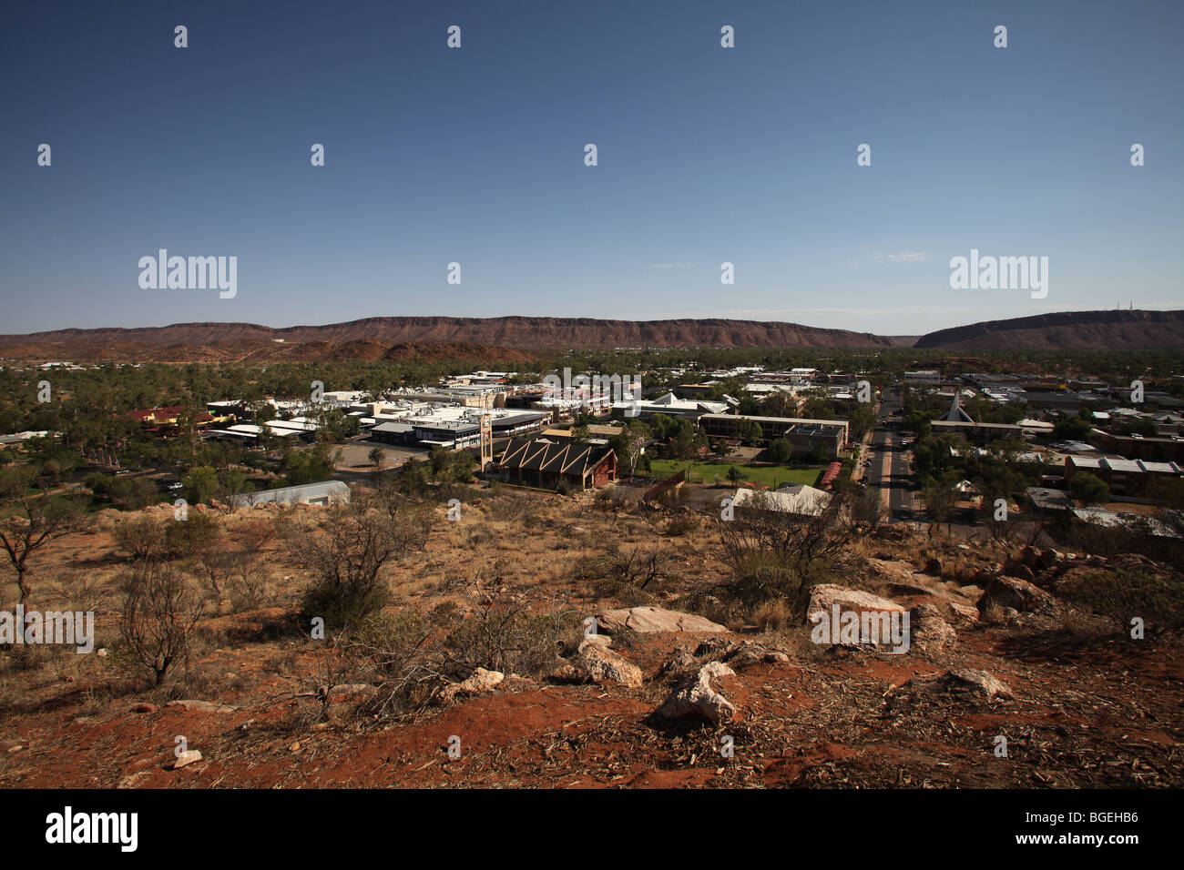 Alice Springs-View from ANZAC Hill-NT-Australia - Stock Image