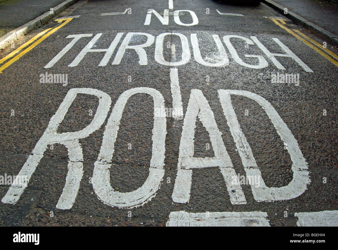 british no through road road marking on a street in wimbledon, southwest london, england - Stock Image