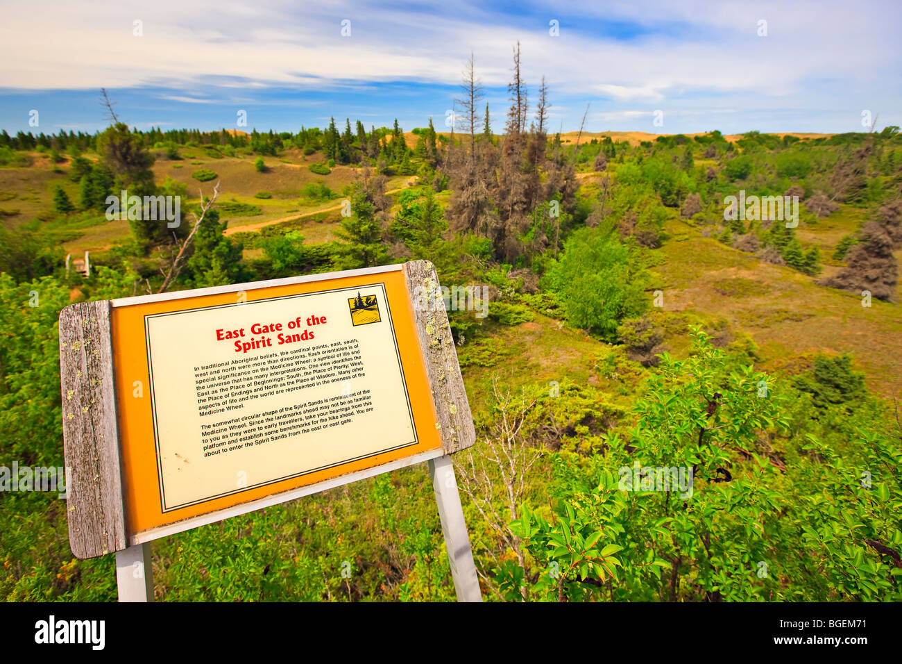 Interpretive sign at the East Gate of the Spirit Sands Trail, Spruce Woods Provincial Park, Manitoba, Canada. - Stock Image