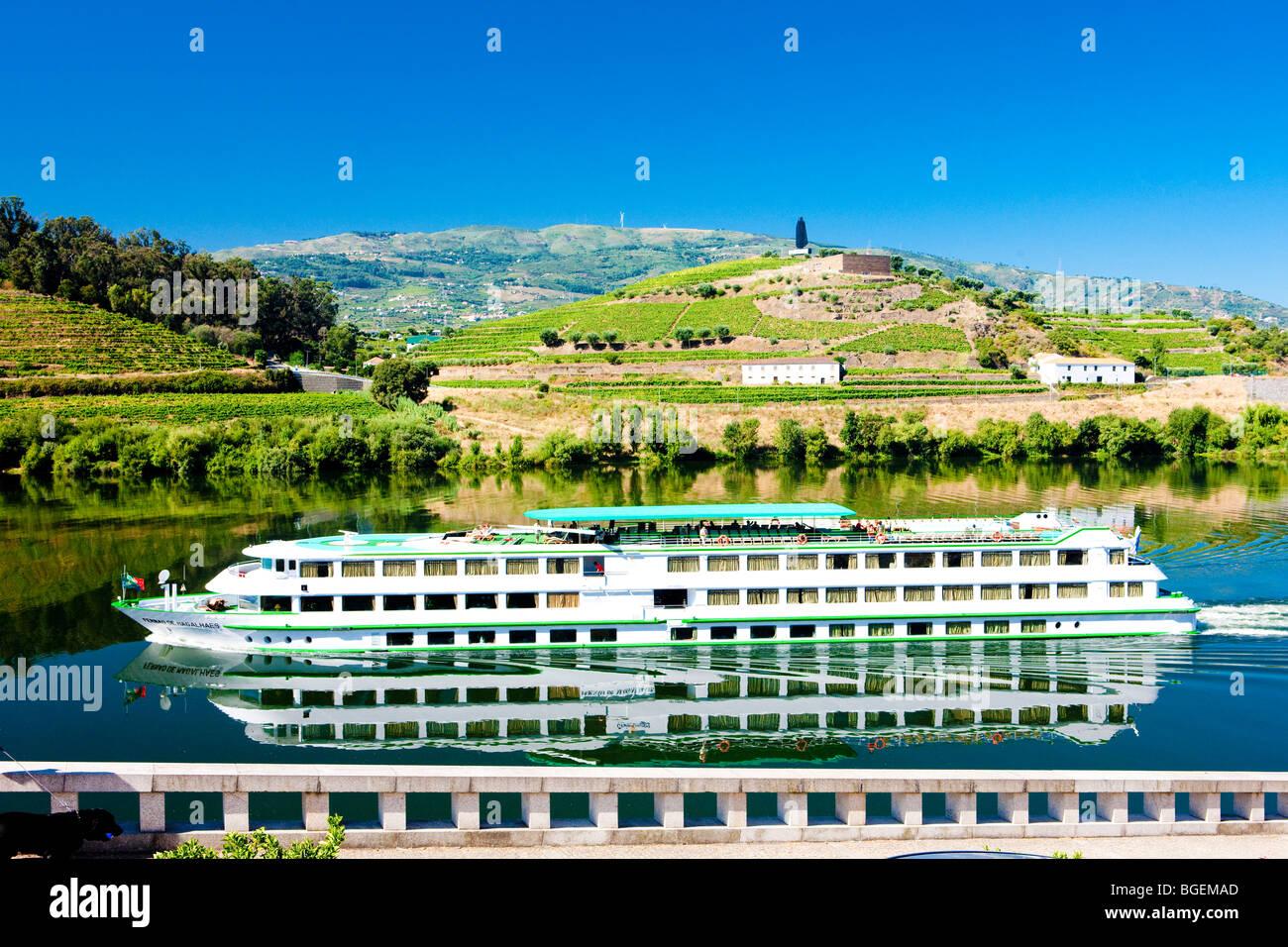 cruise ship at Peso da Regua, Douro Valley, Portugal - Stock Image