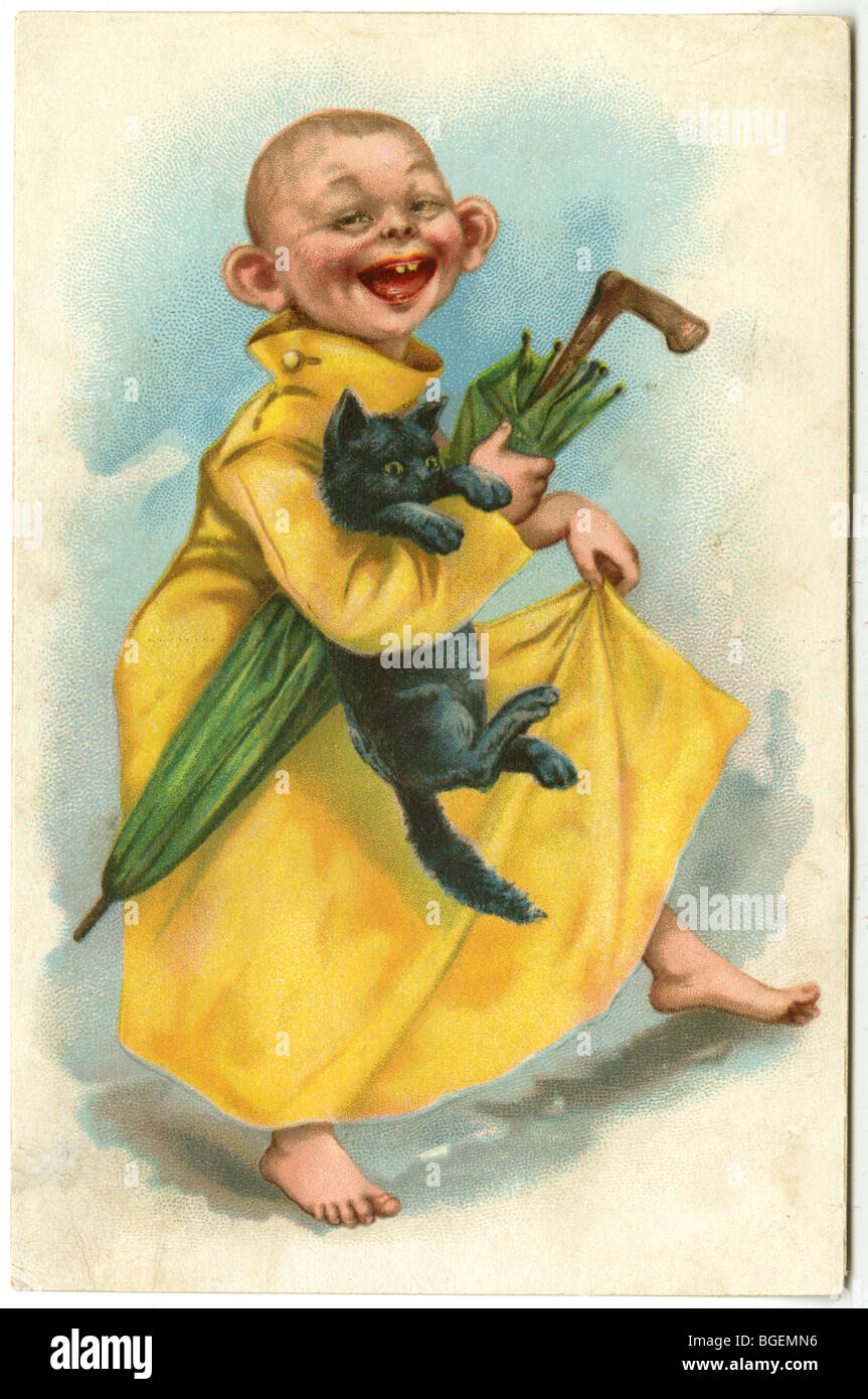 1896 trade card depicting The Yellow Kid by R.F Outcault. - Stock Image